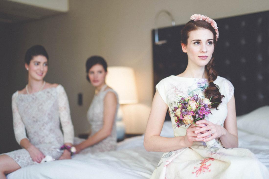 Brautkleid mit Blumenprint