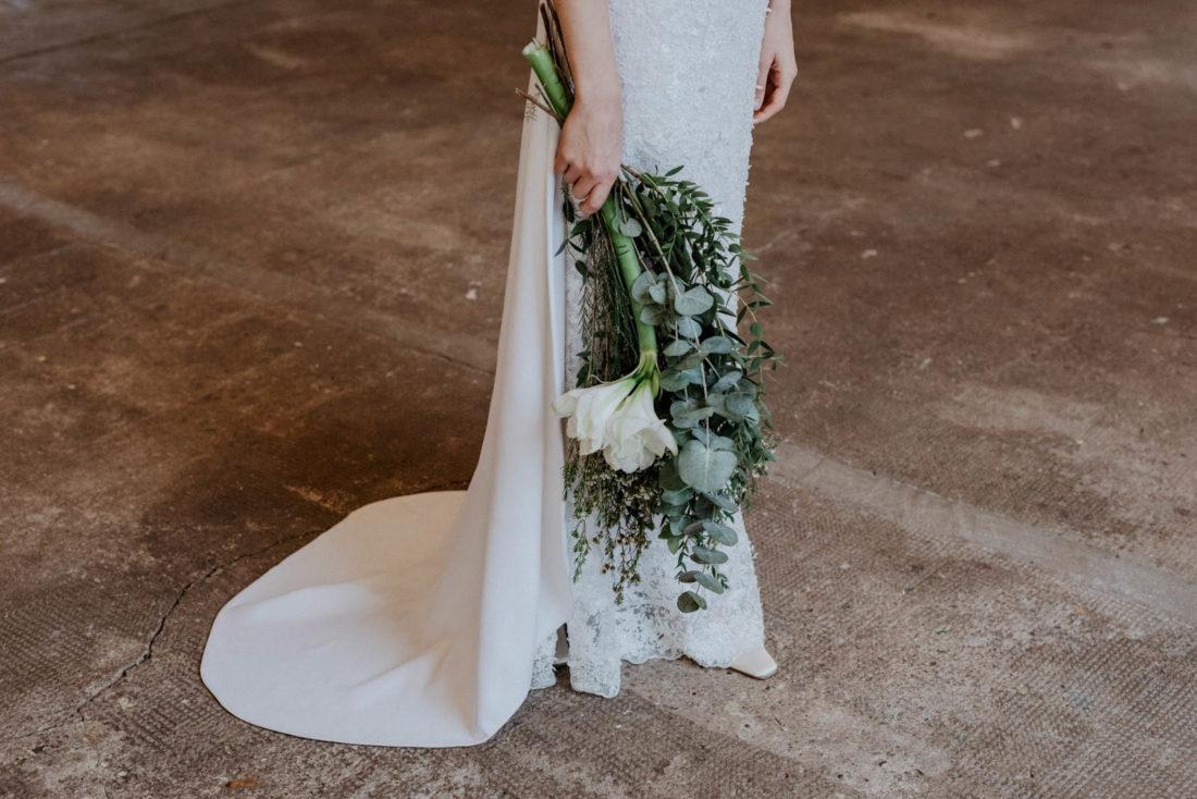 abnehmbare Schleppe am Brautkleid