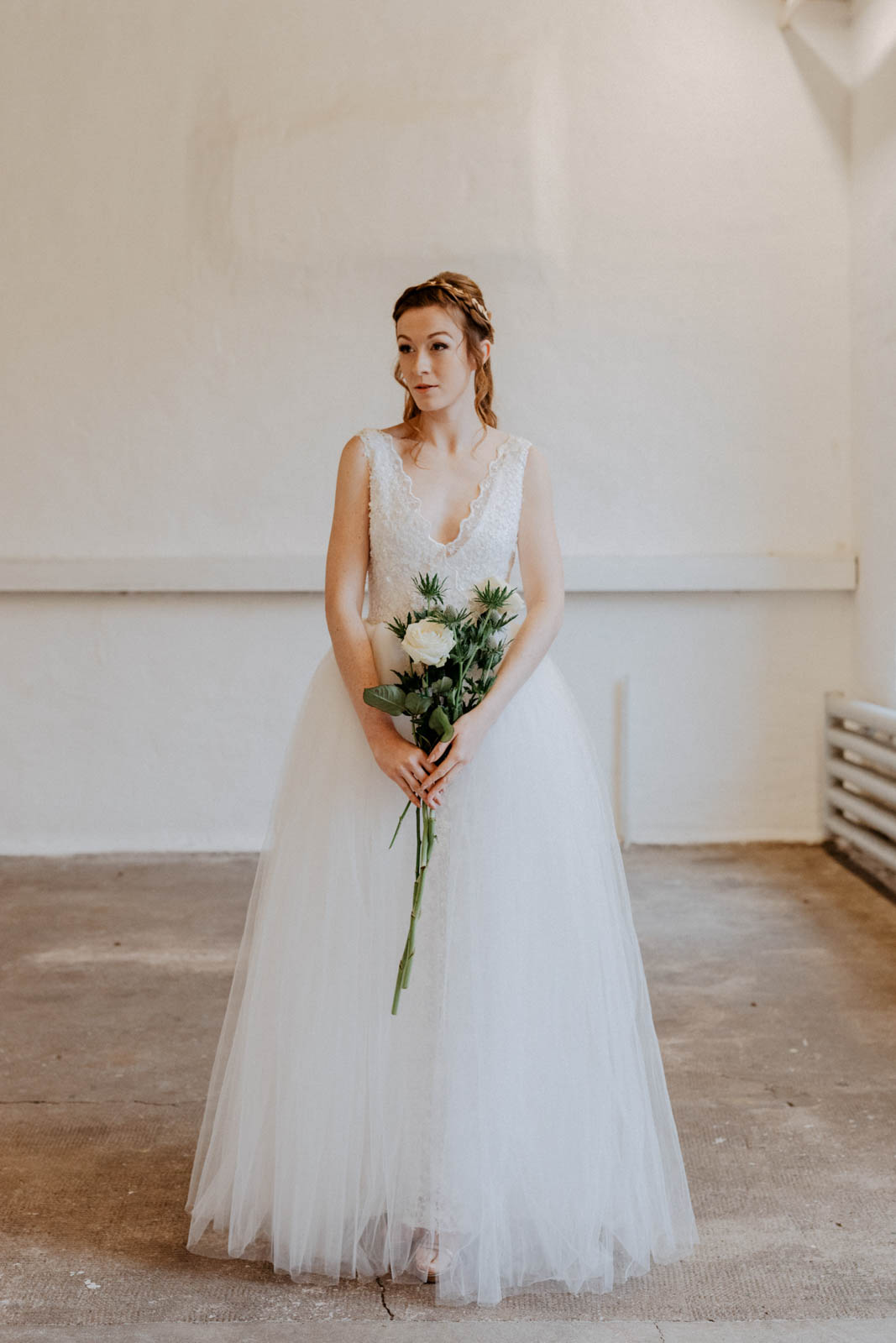 Brautkleid mit abnehmbaren Tüllrock