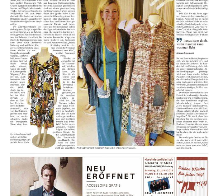 Artikel über Andrea Droemont im Kölner Stadtanzeiger