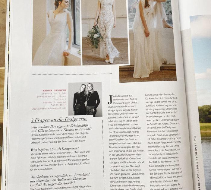 """Artikel über Andrea Droemont Modedesign in dem Magazin """"Hochzeit"""""""