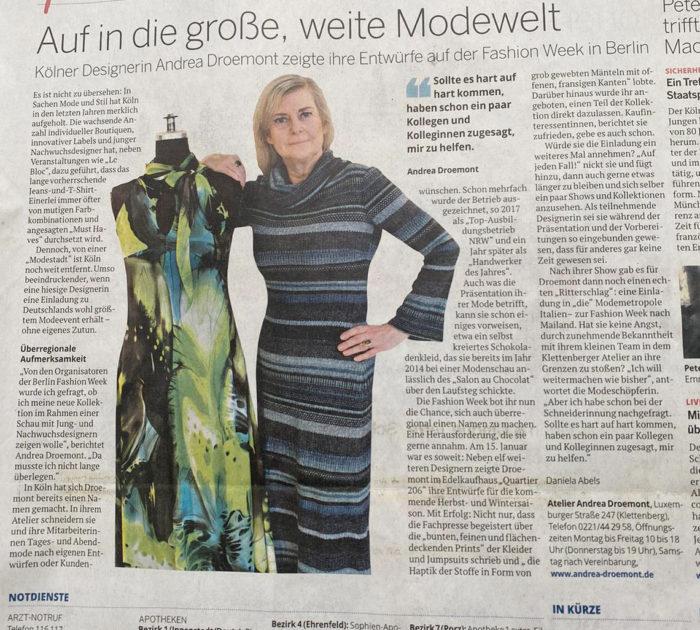 Artikel über Andrea Droemont zur Fashion Week Berlin 2020